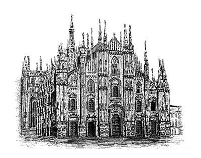 Drawing Drawing - Black And White With Pen And Ink Drawing Of Milan Cathedral  by Mario Perez