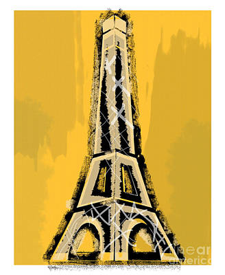 Painting - Black And Yellow Eiffel Tower Paris by Robyn Saunders
