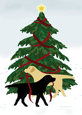 Painting - Black And Yellow Labs Trim Christmas Tree by Amy Reges