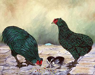 Rooster And Hen Painting - Black Araucana Sop by Amanda Hukill