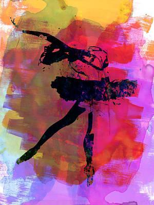 Ballet Dancers Mixed Media - Black Ballerina Watercolor by Naxart Studio