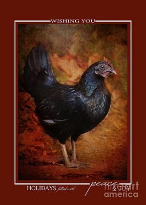 Photograph - Black Bantam Chicken Christmas Cards by Jai Johnson