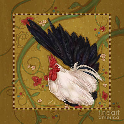 Rural Scenes Mixed Media - Black Bantam Rooster by Shari Warren