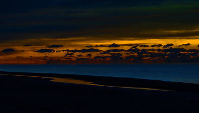 Digital Art - Black Beach With Orange Sky by Michael Thomas