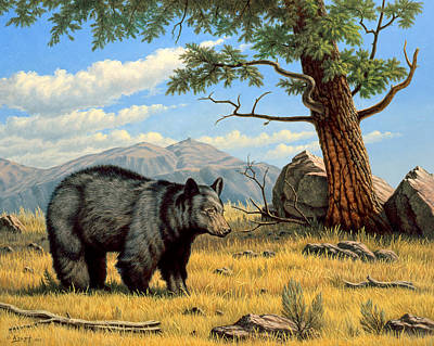 Mountain Valley Painting - Black Bear Above Lamar by Paul Krapf