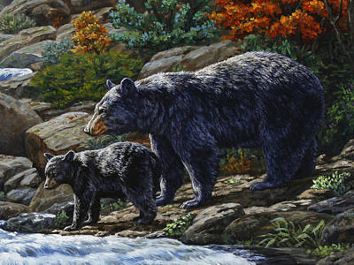 Bear Cub Painting - Black Bear Falls - Detail by Crista Forest