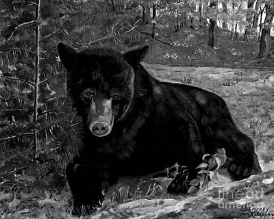 Painting - Black Bear - Scruffy - Black And White by Jan Dappen
