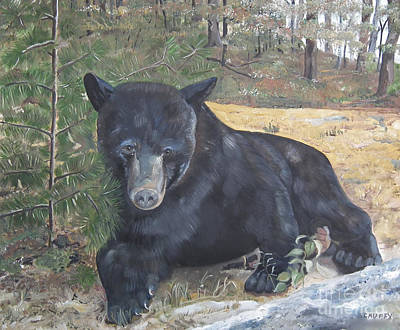 Painting - Black Bear - Wildlife Art -scruffy by Jan Dappen