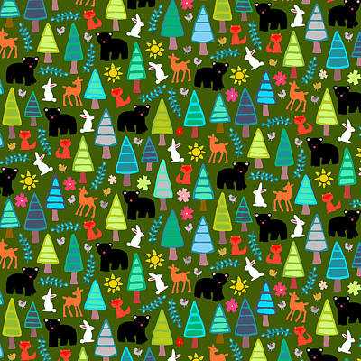 Black Bear Woodland Art Print