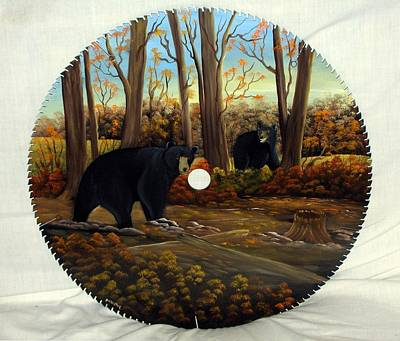 Saw Blades Painting - Black Bears In Woods by Darlene Prowell