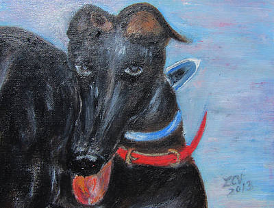 Rescued Greyhound Painting - Black Beauty by Lucille  Valentino