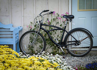 Photograph - Black Bike And Pink Flowers by Wayne Meyer