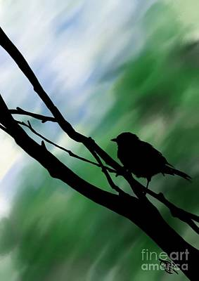 Digital Art - Black Bird by Rachel Barrett