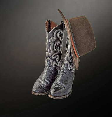Equestrian Clothes Photograph - Black Boots And A Brown Hat by Chandler McGrew