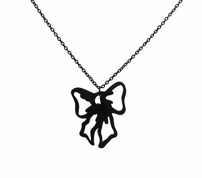 Perspex Necklace Jewelry - Black Bow Pendant Necklace by Rony Bank
