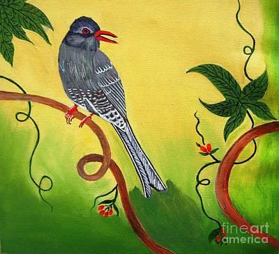 Handmade Painting - Black  Bulbul Bird by Purnima Jain