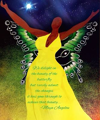 African-american Digital Art - Black Butterfly - Tribute To Maya Angelou by Romaine Head