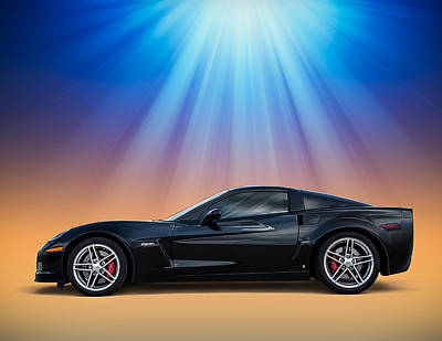 Automotive Digital Art - Black C6 by Douglas Pittman