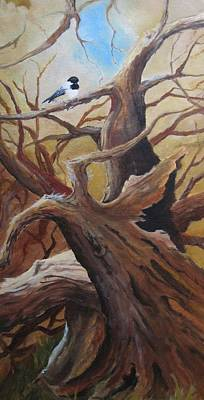 Wall Art - Painting - Black Cap Chickadee by Paula Marsh