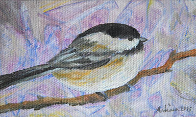 Painting - Black-capped Chickadee - Bird In The Wild by Arlissa Vaughn