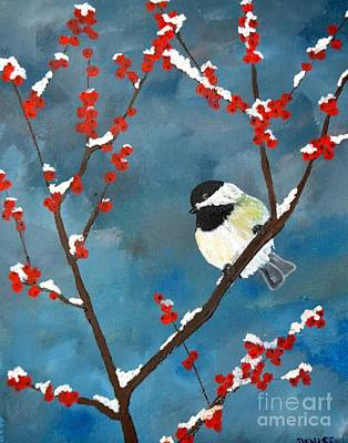 Painting - Black-capped Chickadee by Denise Tomasura