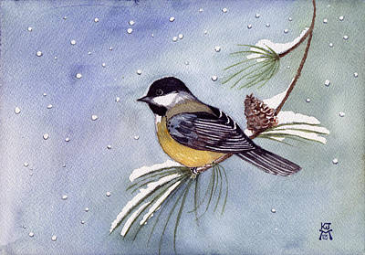 Painting - Black-capped Chickadee by Katherine Miller