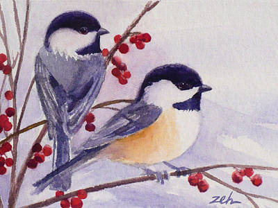 Painting - Black-capped Chickadees by Janet Zeh
