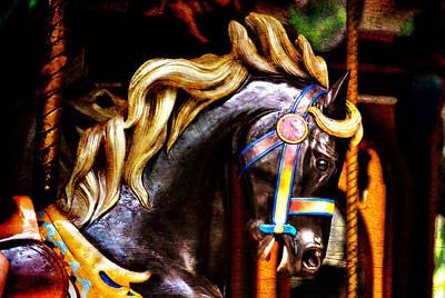 Photograph - Black Carousel Horse by Renee Hong
