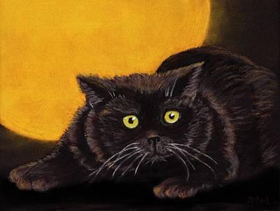 Witch Halloween Cat Wicca Painting - Black Cat by Anastasiya Malakhova