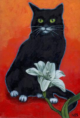 Black Cat And Lily Art Print