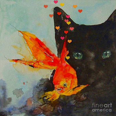 Watercolors Painting - Black Cat And The Goldfish by Paul Lovering