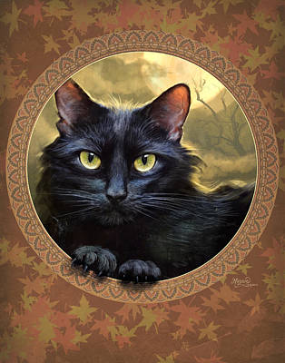 Cat Art Digital Art - Black Cat Autumn by Jeff Haynie