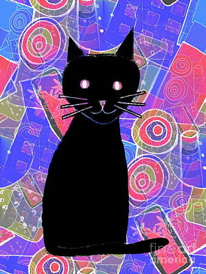 Drawing - Black Cat by Barbara Moignard