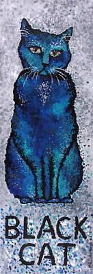 Black Cat Blue Art Print by Michelle Boudreaux