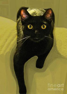 Maureen Digital Art - Black Cat Chartreuse Eyes by Maureen Tillman