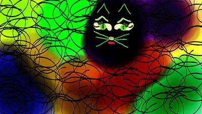 Black Cat Dreams Art Print by Rosana Ortiz