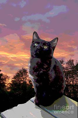 Black Cat Evening Meditation 1 Original by Betsy Cotton