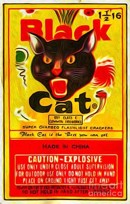 Digital Art - Black Cat by Gregory Dyer