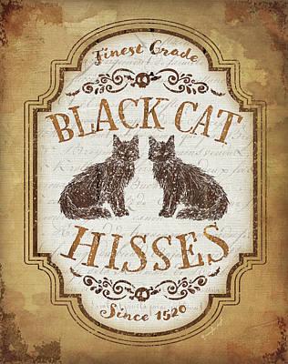 Witch Cat Painting - Black Cat Hisses by Jennifer Pugh