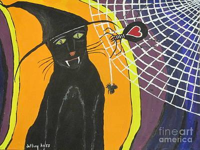 Black Cat In A Hat  Art Print by Jeffrey Koss