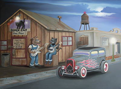 Hot Dogs Digital Art - Black Cat Juke Joint by Stuart Swartz