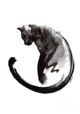 Black And White Art Painting - Black Cat by Mariusz Szmerdt