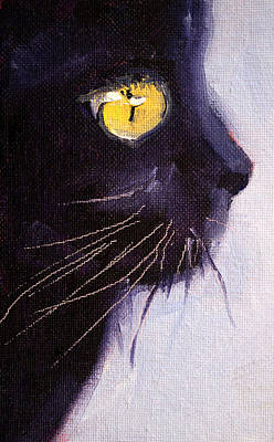 Painting - Black Cat by Nancy Merkle