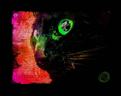 Digital Art - Black Cat Neon by Absinthe Art By Michelle LeAnn Scott