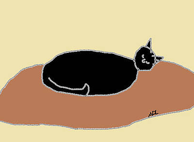 Digital Art - Black Cat On A Rug by Anita Dale Livaditis