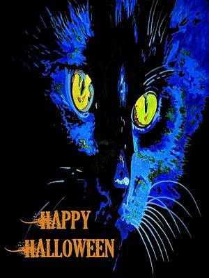 Painting - Black Cat Portrait With Happy Halloween Greeting  by Tracey Harrington-Simpson