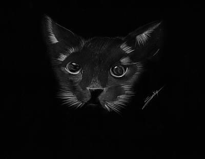Painting - Black Cat by Saki Art