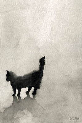 Black Cat Watercolor Painting Print by Beverly Brown
