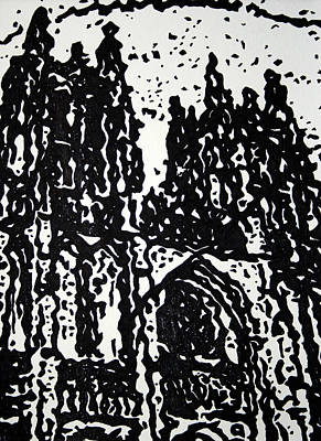 Paris Painting - Black Cathedral  by Oscar Penalber