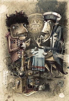 Coffe Digital Art - Black Characters Espresso Coffe by Tom Koval